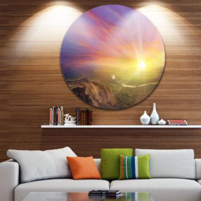 Design Art Scintillating Sunset Disc Photography Circle Metal Wall Art