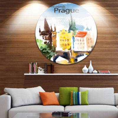 Design Art Old Prague Vector Illustration Disc Cityscape Painting Circle Metal Wall Art