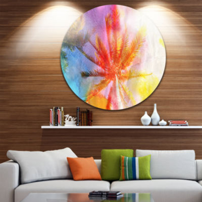Design Art Reflective Retro Palm Trees Landscape Painting Circle Metal Wall Art