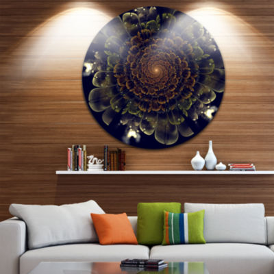 Design Art Orange Fractal Flower with Green Disc Large Contemporary Circle Metal Wall Arts