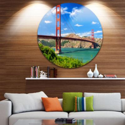 Design Art San Francisco Golden Gate Disc Landscape Photography Circle Metal Wall Art