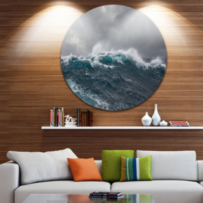 Design Art Roaring Waves under Cloudy Sky Disc Seascape Circle Metal Wall Art