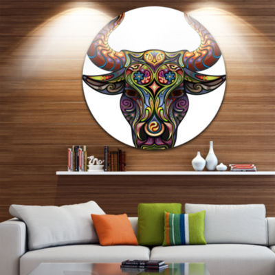 Design Art Ornamental Bull Disc Animal Circle Metal Wall Art