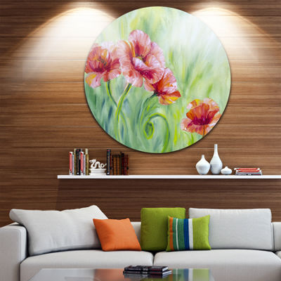 Design Art Pale Red Poppies Floral Circle Metal Wall Art