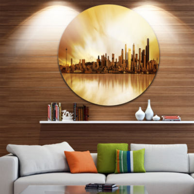 Design Art Seattle Panorama Landscape PhotographyCircle Metal Wall Art