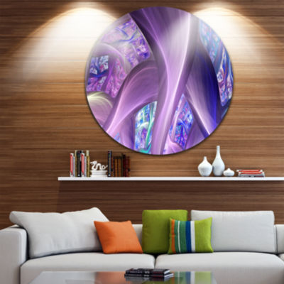 Design Art Purple Blue Fractal Curves Abstract Round Circle Metal Wall Art