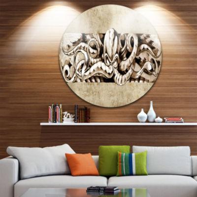 Design Art Octopus Sketch in White Shade Animal Circle Metal Wall Art