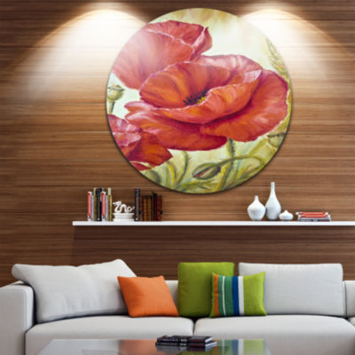Design Art Poppies in Wheat Floral Circle Metal Wall Art