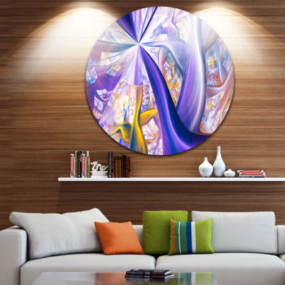 Design Art Purple Gold Fractal Plant Stems Abstract Round Circle Metal Wall Art