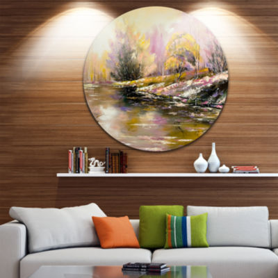 Design Art River s Farwell to Autumn Landscape Circle Metal Wall Art