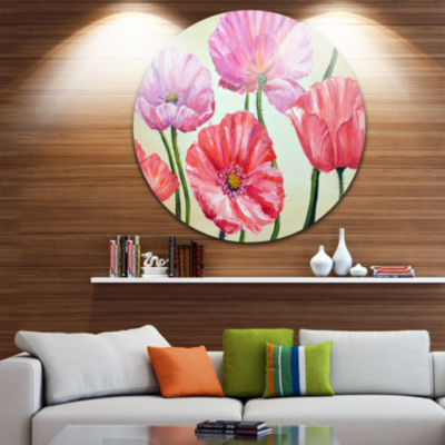 Design Art Red and Pink Poppies Floral Circle Metal Wall Art