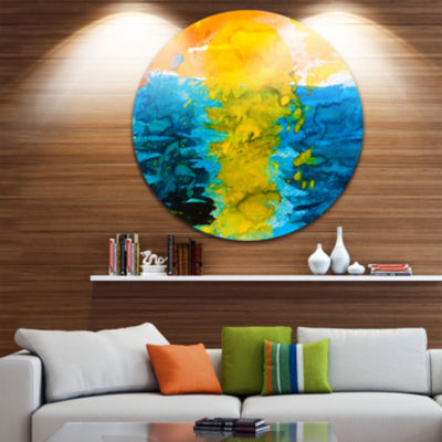 Design Art Sea Texture in Yellow Blue Disc Large Contemporary Circle Metal Wall Art