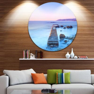 Design Art Purple Sea and Sky Seascape Circle Metal Wall Art