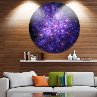 Design Art Purple Fireworks on Black Abstract Arton Round Circle Metal Wall Decor Panel