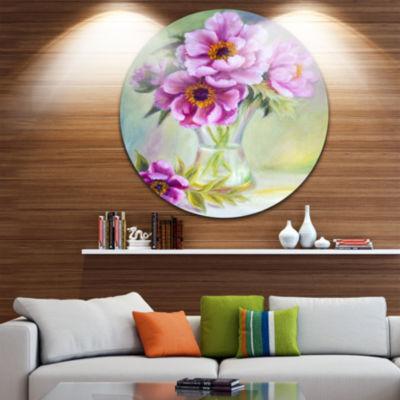 Design Art Purple Peonies in Vase Floral Metal Circle Wall Art
