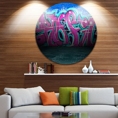Design Art Purple Graffiti Wall Disc Street Art Circle Metal Wall Art