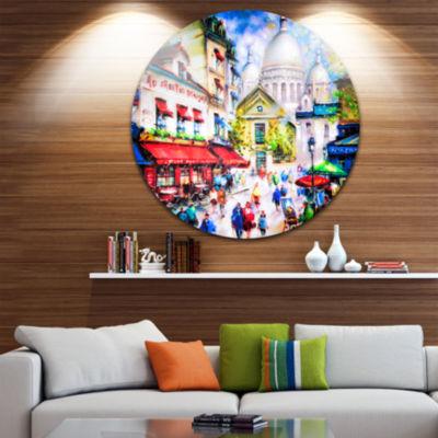 Design Art Sacre Coeur and Montmartre Cityscape Circle Metal Wall Art