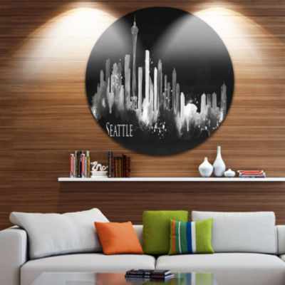 Design Art Seattle Dark Silhouette Disc CityscapePainting Circle Metal Wall Art