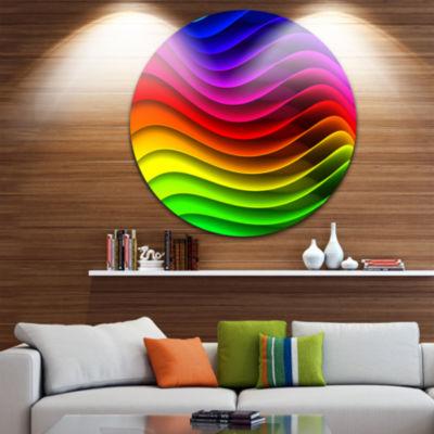 Design Art Rainbow Downward Wave Pattern Digital Circle Metal Wall Art