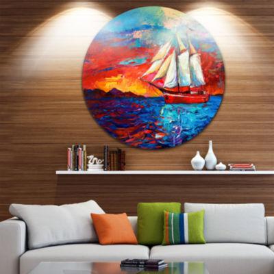 Design Art Sail Ship During Sunset Seascape CircleMetal Wall Art