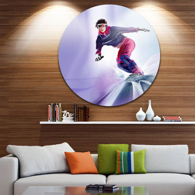 Design Art Pretty Female Snowboarder Abstract Portrait Circle Metal Wall Art