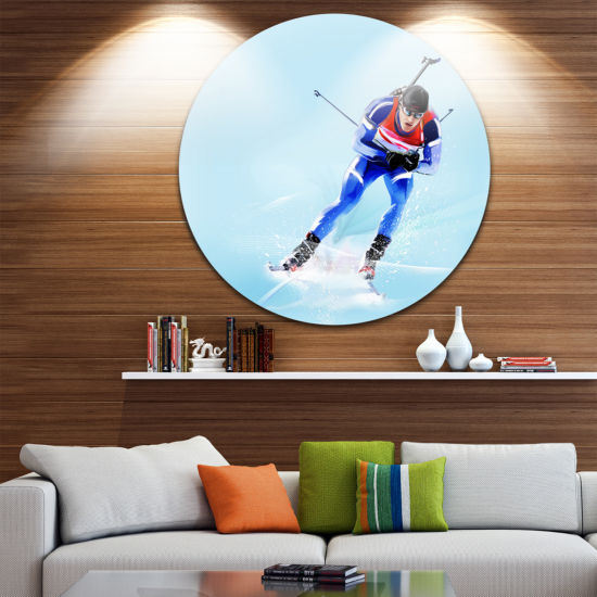 Design Art Professional Male Skier Abstract Portrait Circle Metal Wall Art