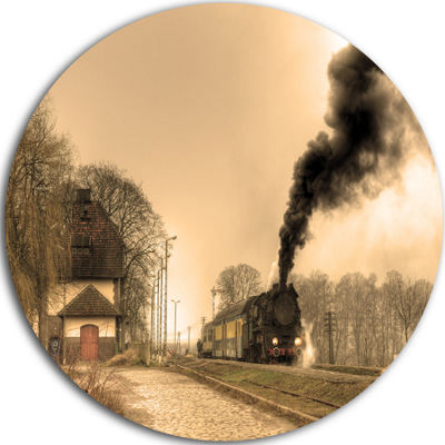 Design Art Retro Steam Train Disc Landscape Photography Circle Metal Wall Art