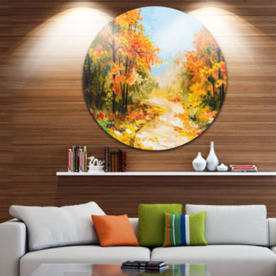 Design Art Path in Autumn Forest Landscape Metal Circle Wall Art