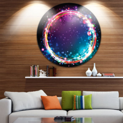 Design Art Purple Blue Circle Lights Disc Large Abstract Circle Metal Wall Art