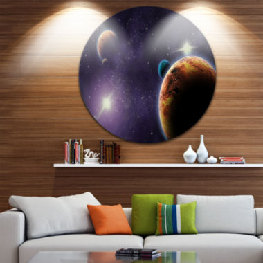 Design Art Planets in Deep Dark Space Disc Contemporary Artwork on Circle Metal Wall Art