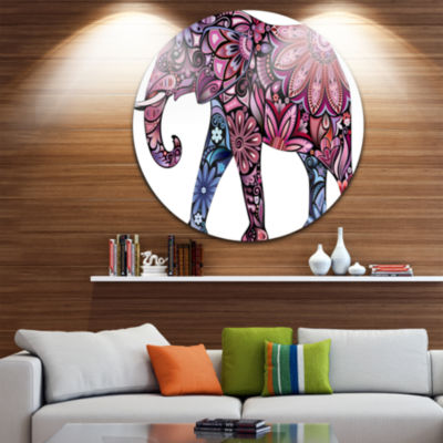 Design Art Purple Cheerful Elephant Disc Animal Circle Metal Wall Art