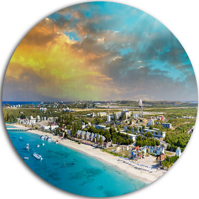 Design Art Panoramic Caribbean Island Disc Landscape Photography Circle Metal Wall Art