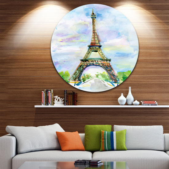 Design Art Paris Eiffel Tower against Blue Sky Disc Watercolor Circle Metal Wall Art