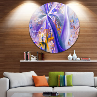 Design Art Purple Yellow Fractal Curves Abstract Round Circle Metal Wall Art