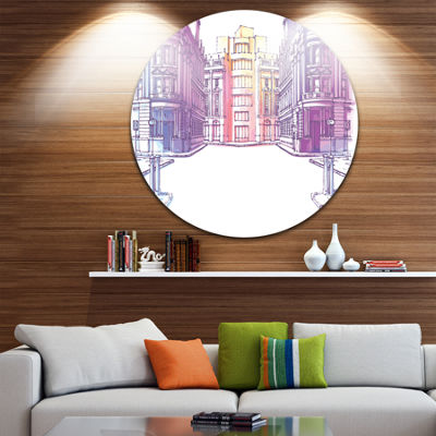 Design Art Old City Street Disc Cityscape PaintingCircle Metal Wall Art