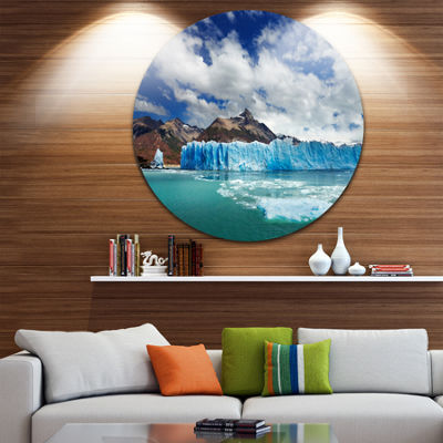 Design Art Perito Moreno Glacier Disc PhotographyCircle Metal Wall Art