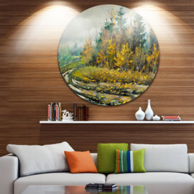 Design Art River on a Decline Landscape Metal Circle Wall Art