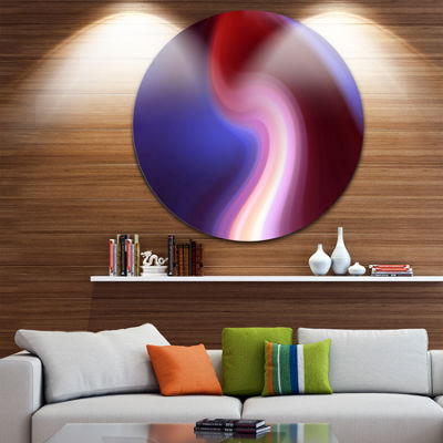 Design Art Red Blue Mix Texture Large Abstract Circle Metal Wall Art