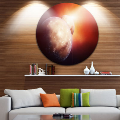 Design Art Planets with Rising Star Spacescape Circle Metal Wall Art
