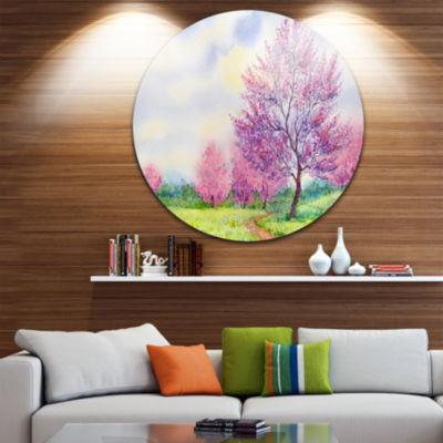 Design Art Purple Spring Landscape Disc Floral Circle Metal Wall Art