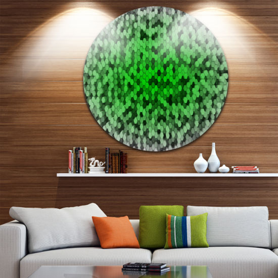 Design Art Random Elevated Green Hexagons AbstractRound Circle Metal Wall Decor Panel