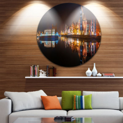 Design Art Panorama of Gdansk Old Town Disc Landscape Photography Circle Metal Wall Art
