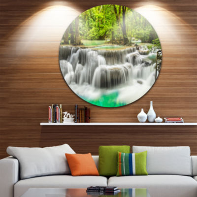 Design Art Panoramic Erawan Waterfall Disc Landscape Photography Circle Metal Wall Art