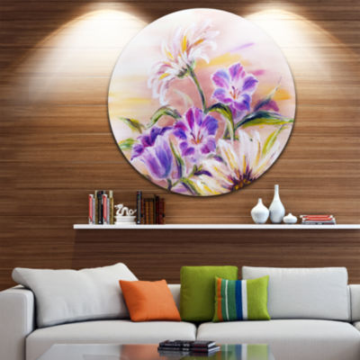 Design Art Purple Wildflowers Floral Circle MetalWall Art