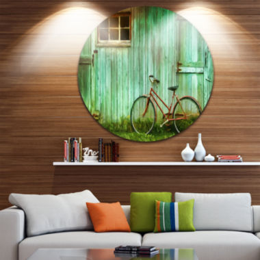 Design Art Old Bicycle against Barn Disc LandscapePhoto Circle Metal Wall Art