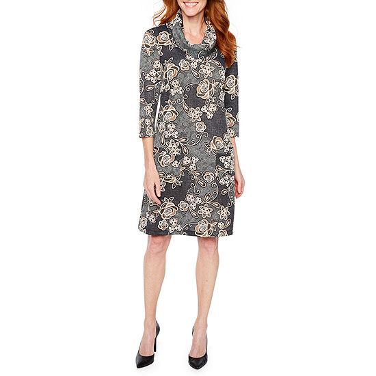 Perceptions 3 4 Sleeve Floral Puff Print Shift Dress