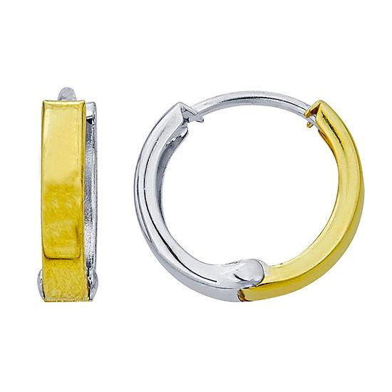 14K Two Tone Gold 13mm Hoop Earrings