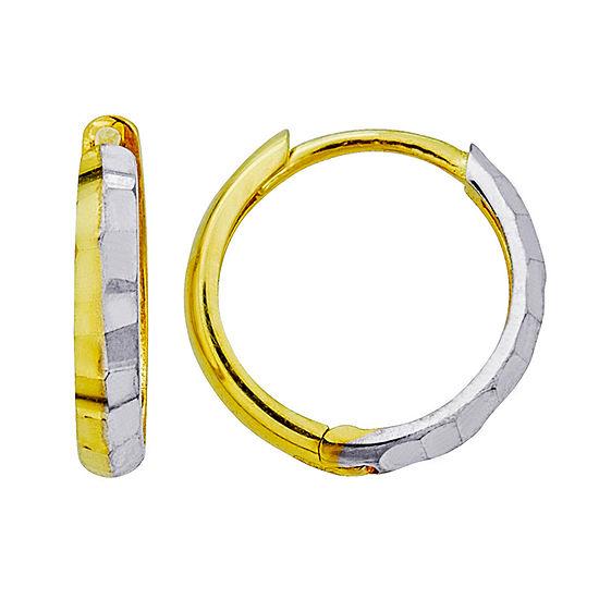 14K Two Tone Gold 12mm Hoop Earrings