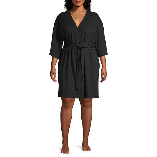 Ambrielle 3/4 Sleeve Mid Length Kimono Robes Womens-Plus