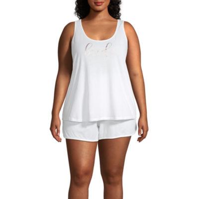 Ambrielle Womens Sleeveless Shorts Pajama Set 2-pc - Plus